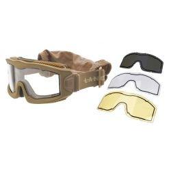 Masque Protection Aéro w/ 3 Verres Desert (Lancer Tactical)