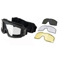 Masque Protection Aéro w/ 3 Verres Noir (Lancer Tactical)